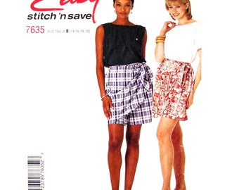 Pullover Top & Sarong Shorts Pattern McCall's 7635 Panel Skort Womens Sewing Pattern Size 14 16 18 20 UNCUT