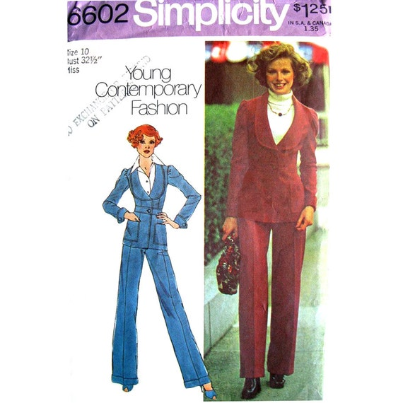 Womens Fitted Jacket & Pants Pattern Simplicity 6602 High Waist Trouser Suit Bust 32 1/2 Vintage Pattern