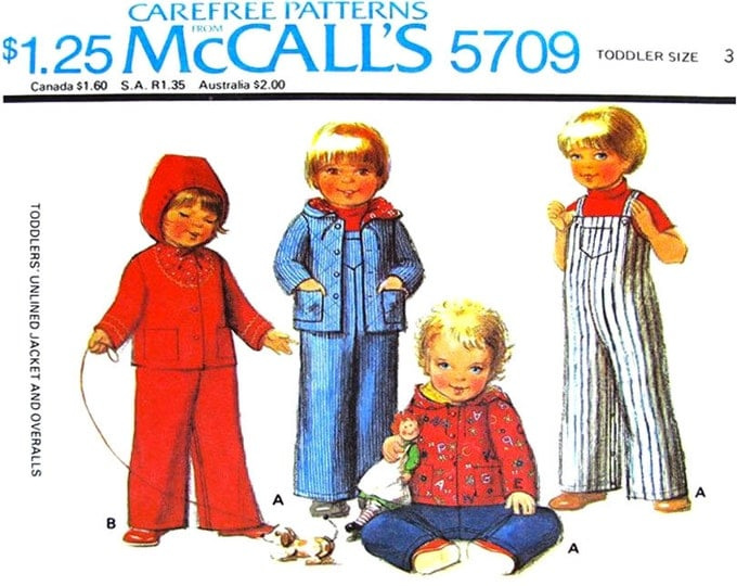 Kids Hoodie Jacket, Overalls Sewing Pattern McCalls 5709 Button Front Coat Size 3