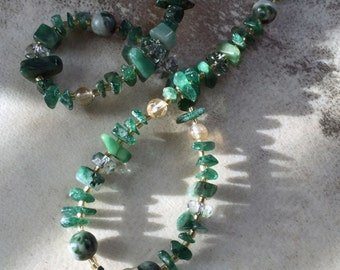 EMERALD CITY Necklace (Agate, Aventurine, Citrine, Czech Crystal)