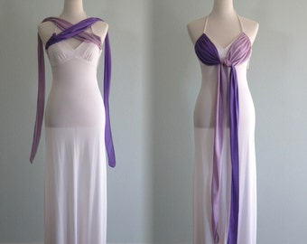 Elegant 70s White Jersey Dress with Purple Sashes - Vintage White Cocktail Dress with Attached Scarves - Vintage 1970s Dress XS