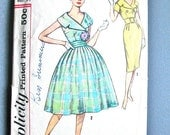 1950s Simplicity 2971 Vintage Sewing Sheath Dress pattern Two Skirts, Cummerbund and Belt wide lapel collar Full Skirt Fitted Bodice Bust 34