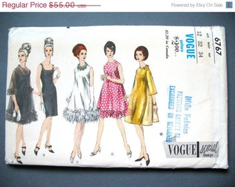 ON SALE Uncut Vogue Special Design 6767 1960s Evening Dress Cocktail Vintage Dress Sewing Pattern  Bust 32 inches
