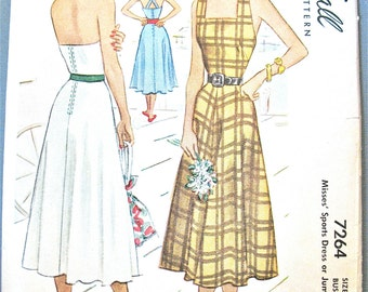 Uncut 40s McCall 7264 Misses' Halter Dress or Jumper Vintage Sewing Pattern  Bust 36 inches