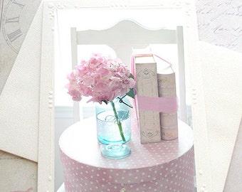 Pink Hydrangeas Note Card, Shabby Chic Note Cards, Romantic Flower Photography, Dreamy Pink Hydrangeas Mason Ball Jars, Books Photography