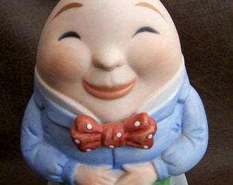 Rare Vintage Humpty Dumpty Ceramic Music Box Revolves 80s Mother Goose Series FavoriteCollectibles