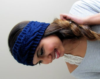 Thick Head Wrap Earwarmer Arrow Chevron Knit HeadBand Chunky Headband Handmade Earwarmer Winter Headband Holiday Deal Navy Blue CHOOSE Color