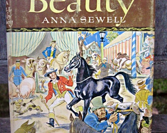Vintage 'Black Beauty' book, children's classic book, 1945 Black Beauty, Anna Sewell book, Fritz Eichenberg, classic horse book