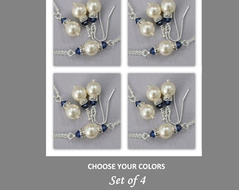 SET OF 4 Bridesmaid Gift,  Swarovski Ivory Pearl and Navy Crystal Jewelry, Dark Sapphire Bridesmaid Gift Bracelet, Necklace and Earrings Set