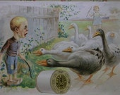J&P Coats Thread Victorian Advertising Trade Card-Scared Boy and Girl with Geese