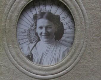 Lot/2 Antique Gem Type Photos-ID'd Brown-Pretty Ladies w/Fancy Parasols-Hat-Bows