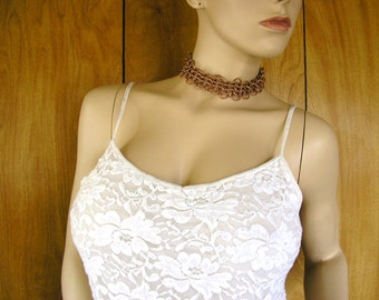 """Copper Chainmail collar choker - 1 3/4"""" wide, and 13"""" long adjustable with a 3.5"""" long adjuster chain with a stone charm."""