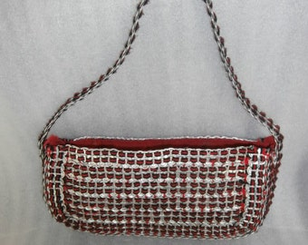 Purse ~ Recycled Pop top / Soda Top Purse Silver ~ Black ~ Red ~  Handmade Unique Shoulder Bag