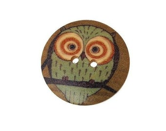 Wooden Owl Buttons , 30MM   Painted  Owl Wooden Buttons , 6 Pcs , Owl Buttons  ,  Wood Buttons