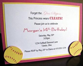 Softball Party Invitations, Softball Birthday Party Invitation, Softball Invitation, Girl Softball Party, Girl Softball Invite, Set of 12