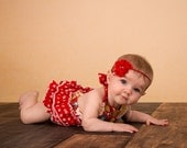 Adorable Baby Girl Ruffle Romper in Vibrant Red - Bubble Romper - Spring Summer 2016 - Happy Flowers sizes NB to 24 months, by SunLoveShirts