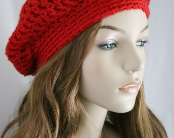 Slouchy Beanie Womens Crochet Hat - Chunky Hat - Oversized Slouchy Beanie - Tomato Red Baggy Beret - Winter Hat