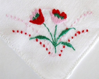 Vintage Handkerchief Embroidered Floral Tulip Spring Pink Red Green White 1950s