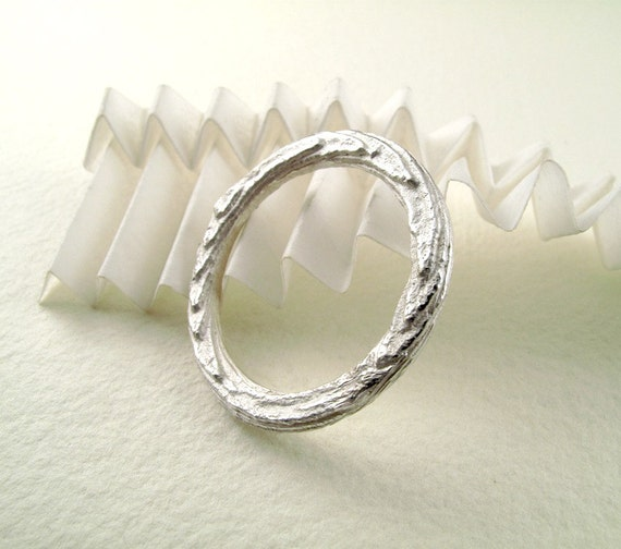 Unisex Sterling Silver Texture Band Cast With Cuttlebone