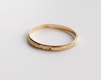 V I N T A G E / floral pattern / milgraine wedding band / size 7.5