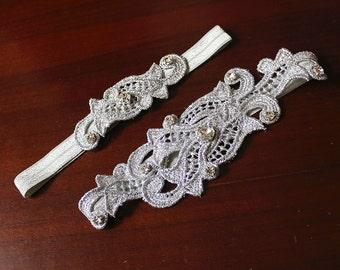 Kassandra Wedding Garter Set, Bridal Garter, Silver Garter, Gold Wedding Garter, Elegant Lace Garter Set, Keepsake Garter Toss Garter