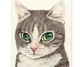 cat art print~A Smart Looking Cat-eyed Tabby~ small cat drawing cat lover gift Christmas home decor (165)