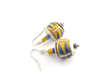 Yellow and Blue Drum Earrings - Golem Studio Earrings - Ceramic Earrings - Silver Earrings - Antique Silver - Wire Earrings - Small - E011