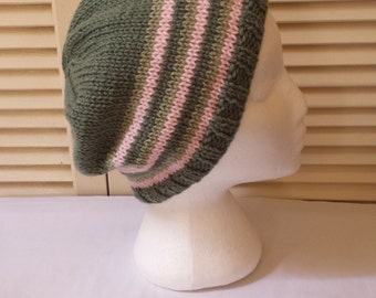 Womens Hand Knitted Slouch Cap/ Green And Pink Striped  Adult/Teen Size Knit Beanie/Hat  Handmade Caps