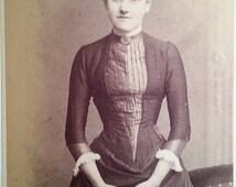 victorian CDV, victorian photograph, tiny waist, 1880s costume, small waist, victorian home, victorian costume