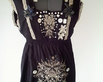 black handmade dress, gothic dress, black evening dress, embroidered dress, victorian dress, gothic clothing, beaded dress