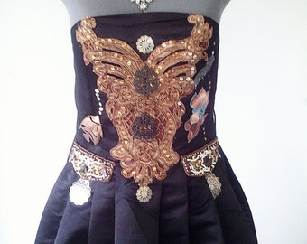 black cocktail dress, short black dress, fruits dress, embroidered dress, full black dress, upcycled dress, vampire dress, victorian dress