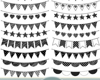 Doodle Bunting Clipart Flags Clipart Bunting Clip Art Garland Clipart Polka Dot Hearts Stripes Invitations Scrapbooking Banner Clipart