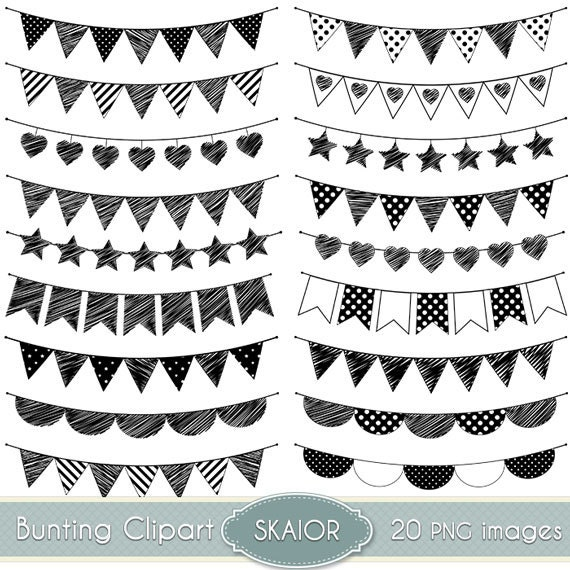 Doodle Bunting Clipart Flags Clipart Bunting Clip Art Garland