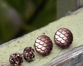 Metallic Faux Druzy and Dragon Scale Earrings Set of 2 in Rose Bronze Titanium or Stainess Steel