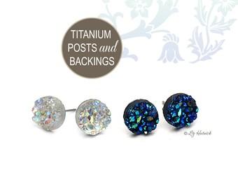 New! 2 Pair Set 8mm Faux Druzy Titanium Post Earrings - Clear Glitter Studs, Black Blue Teal Studs