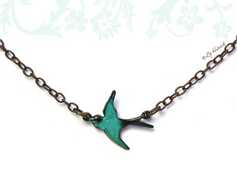 Teal Sparrow Necklace, Antiqued Brass Chain and Swallow Charm, Tiny Teal Bird Necklace, Bridesmaid Gift