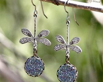 Brass Dragonfly Earrings, Faux Druzy Dark Silver Rainbow Glitter Dangles on Titanium Wires