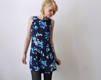 SALE...90s floral romper. sleeveless summer playsuit - xs, small