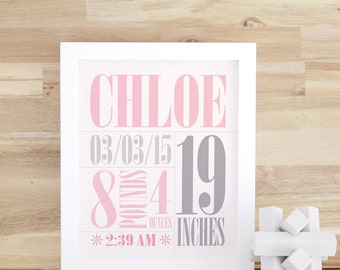 Birth Announcement Wall Art, Nursery Art, Baby Birth Print, Baby Name Art, Gift, Pink, Gray, 8x10, 16x20, White Frame. Custom Birth Print