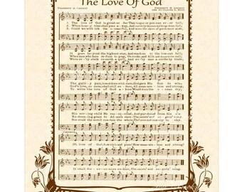 The LOVE Of GOD - Hymn Art - Custom Christian Home Decor - VintageVerses Sheet Music - Inspirational Wall Art - Sepia