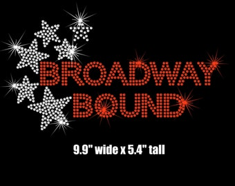 Broadway Bound iron on rhinestone transfer applique bling patch