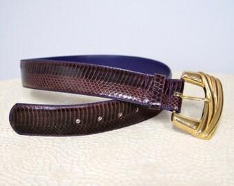 Vintage Belt Purple Snake Skin Belt Wide 1980's Belt Big Goldtone Buckle Size Medium