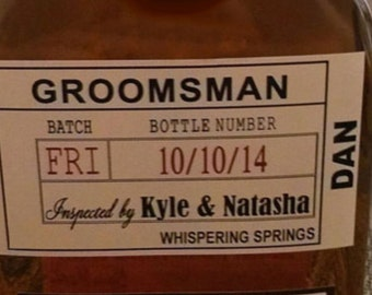 Private Listing for idorummelteric1 Groomsman Liquor Label shipping only