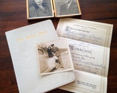 WWII Engagement and Wedding Ephemera - Framed Photos Marriage Certificate and Bride's Book