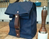Navy Waxed Canvas, Cordura, and Leather Reusable Insulated Lunch Bag