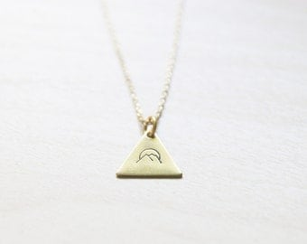 Brass Mountains Hand Stamped Necklace << Mountain Sunrise Necklace >> Scandinavian Geometric >> Mountains are calling