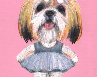 Ballerina - dance dog- Puppy - dogs drawing - ORIGINAL ILLUSTRATION / dog drawing pink and red  / Colored pencil drawings / lady dog art