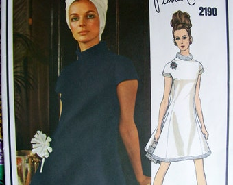 Pierre Cardin Designer 1960s  VOGUE Paris Original  Pattern 2190  -  Beautiful Designer Cocktail Evening Dress * Size 10