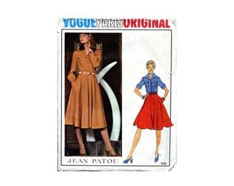 Vintage Vogue Pattern Paris Original Jean Patou 1970s Shirt Dress Skirt and BlouseTwo Piece Dress Vogue 1081 Bust 31 Vintage Sewing Pattern