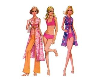 1970s Swimsuit Vest and Pants Pattern Midi Vest Cover Up Hip Hugger Pants Sport Bra Bathing Suit McCalls 2805 Bust 34 Vintage Sewing Pattern